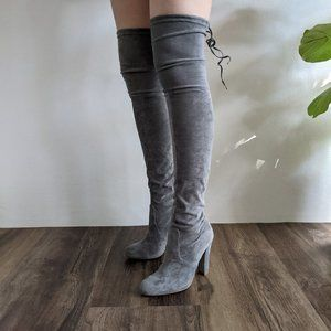 Lipstik suede grey over the knee boots.